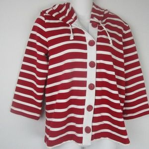 Ovis Red and White Striped Hooded Blouse